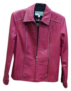 St. John Sport Zipper Raspberry Red Leather Jacket