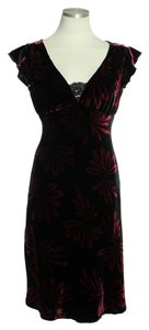 Nanette Lepore short dress Black Red V-neck Velvet on Tradesy