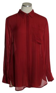 J.Crew 100% Silk Long Sleeve Woven Button Down Shirt Red