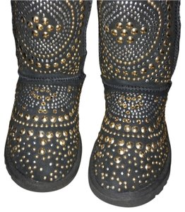 Jimmy Choo Uggs Boots Black with gold & silver studs. Gorgeous. Boots
