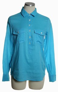 J.Crew Long Sleeve Pocket Popover Shirt Top Blue
