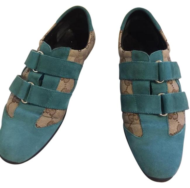 Item - Brown & Blue Suede Gg Canvas Sneakers 37.5 Wedges Size US 7 Regular (M, B)