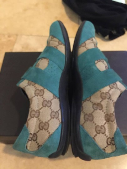 Gucci Brown & Blue Suede Wedges Image 3