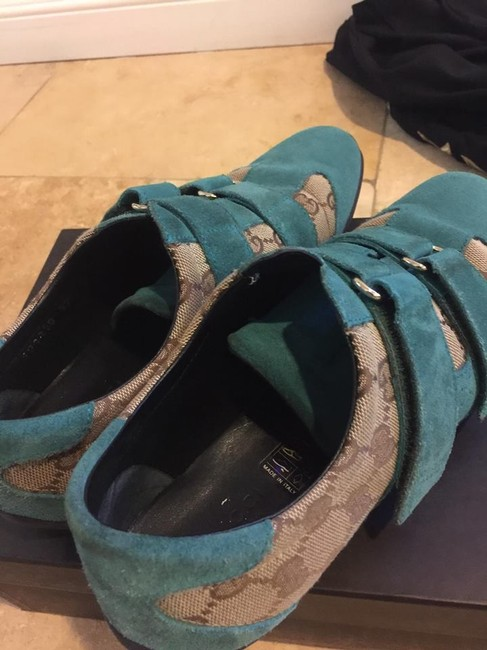 Gucci Brown & Blue Suede Gg Canvas Sneakers 37.5 Wedges Size US 7 Regular (M, B) Gucci Brown & Blue Suede Gg Canvas Sneakers 37.5 Wedges Size US 7 Regular (M, B) Image 7