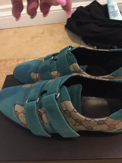 Gucci Brown & Blue Suede Wedges Image 8