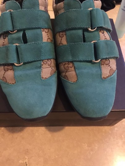Gucci Brown & Blue Suede Wedges Image 9