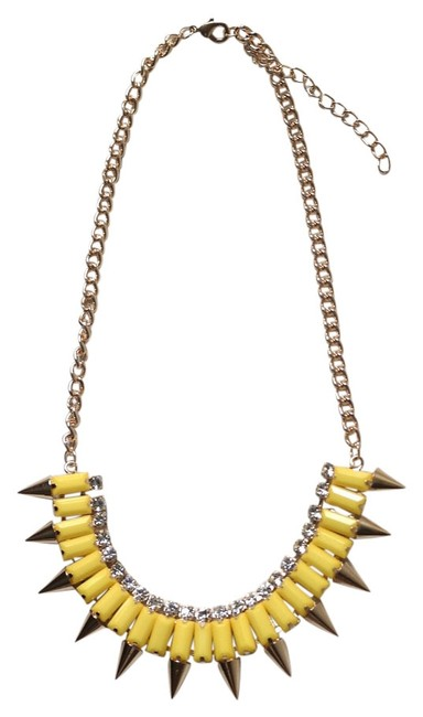 Item - Yellow Rhinestones Gems Chain Gold Plated Necklace