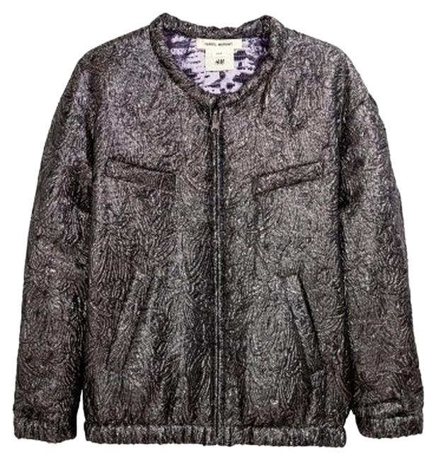 Item - Silver/Purple Reversible Bomber Jacket Size 6 (S)