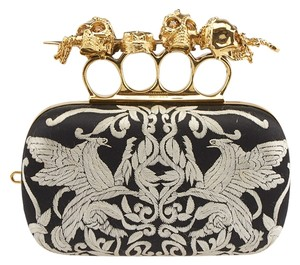 Alexander McQueen Skull Knuckle Black & White Clutch