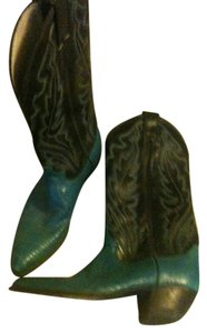 Justin Boots Vintage turqouise and black cowboy Boots
