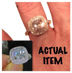 Other New 4CT Double Cushion Cut Square Cz & White Topaz Genuine White Gold Filled Ring 5, 6, 7, 8, 9