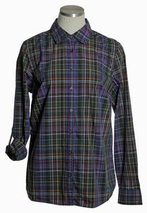 Talbots Tab Sleeve Fitted Plaid Button Down Shirt