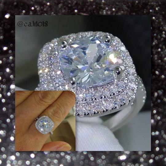 Other New 4CT Double Cushion Cut Square Cz & White Topaz Genuine White Gold Filled Ring 5, 6, 7, 8, 9 Image 1