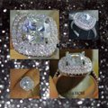 Other New 4CT Double Cushion Cut Square Cz & White Topaz Genuine White Gold Filled Ring 5, 6, 7, 8, 9 Image 2