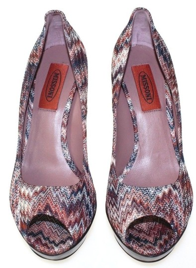 Missoni Wooden Heel Knit Peep Toe Heels Multicolor Pumps