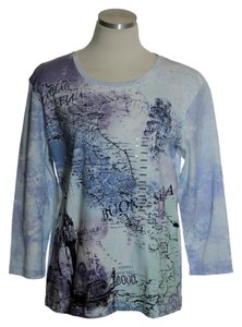 Nicole Miller 3/4 Sleeve Italy Map Print T Shirt Blue