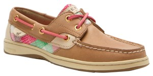 Sperry Boat Plaid Sequin Leather Linen/Pink/Green Flats