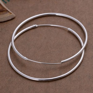 "Silver Buy 1 Get 1 Free 2"" Hoop Free Shipping Earrings"