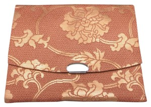 Japanese Brocade wallet Carmel and Gold Silk