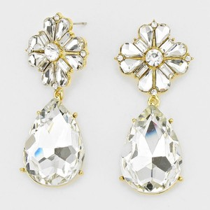 Elegant Rhinestone Crystal Teardrop Floral Earrings