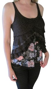 Silence + Noise Sleeveless Ruffle Top Black