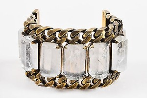 Givenchy Givenchy Brass Tone Rock Crystal Chunky Curb Chain Link Wide Bracelet
