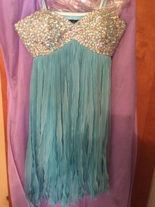 La Femme Blue Short Homecoming Prom Dress
