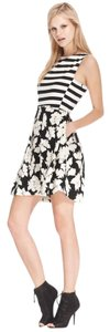 Rachel Roy short dress Black and white Striped Floral Print on Tradesy