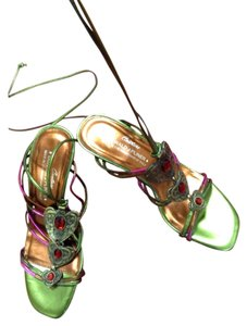 Donald J. Pliner Leather Couture Brass Green Sandals