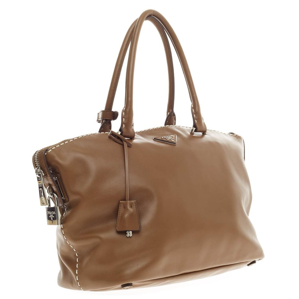 Tote Prada Stitched Calfskin Caramel City Brown Zip Leather Top qqrx8wBS
