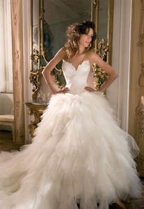 Demetrios Ivory Tulle Sexy Wedding Dress Size 2 (XS)