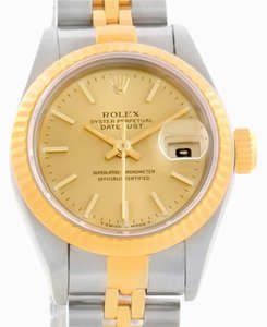 Rolex Rolex Datejust Steel 18k Yellow Gold Baton Dial Watch 69173