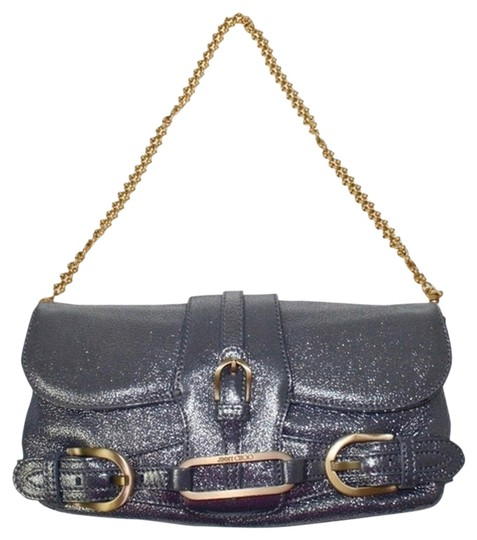Jimmy Choo Metallic Blue Gold Hardware Blue/Grey Metallic Clutch