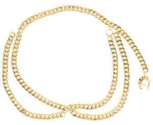 Chanel Chanel gold-tone chain link belt with horseshoe charm