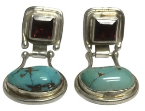 Other Turquoise and Garnet Crystal Earrings .925 Sterling Silver