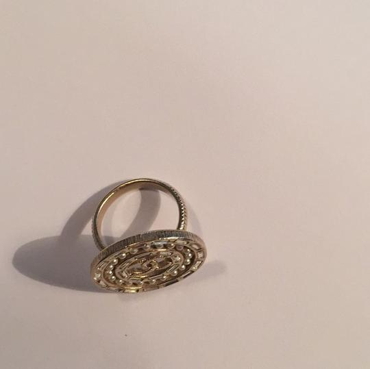 Chanel Gold Tone strass Pearly white Crystal Baguette Disc Ring eu 52