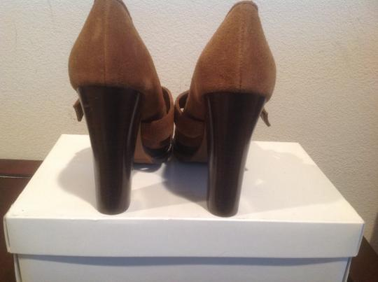 BCBGeneration Stacked Wood Layer And Heels Adjustable Foot Strap Brown suede Platforms