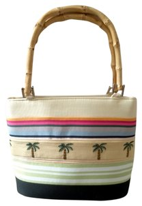Braciano Tote in Multi Color with embroidered palm trees