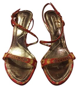 Cesare Paciotti Red & gold Sandals