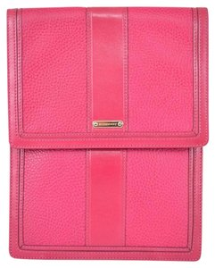 Burberry NEW BURBERRY $425 RHUBARB PINK TEXTURED LEATHER BRIDLE TRIM TABLET SLEEVE CASE