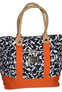Lilly Pulitzer Tote in Navy Blue White & Orange