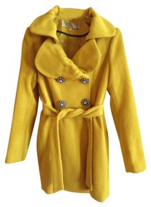 Ci Sono Buttons Belted Winter Silver Hardware Gems Pea Coat
