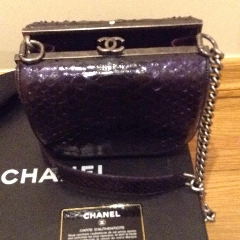 cc1e5958d2fb Chanel Dark Purple Python Snake Leather Cross Body Bag - Tradesy