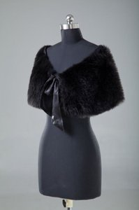 Black Faux Fur Shrug Bolero Wrap Coat Jacket Shawl Free Shipping