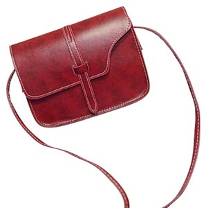 Brown Red Leather Cross Body Bag