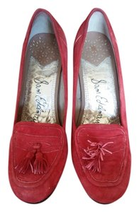 Sam Edelman Suede Hidden Platform Tassels red Pumps