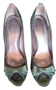 J.Crew Satin Suede Peep Toe Hunter green Pumps
