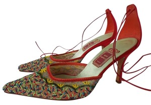 Rene Caovilla Satin Red Beaded Ankle Tie Italy Red Multicolor Formal