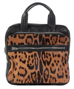 Alexander Wang Aw.k0205.07 Leather Square Calf Hair Satchel in Tan and Black