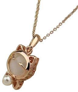 Other Gold tone white pearl cat pendant necklace free shipping